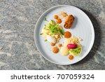 fine dining dessert  apricot... | Shutterstock . vector #707059324