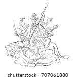 happy navratri  worship of... | Shutterstock .eps vector #707061880