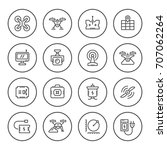set round line icons of... | Shutterstock . vector #707062264