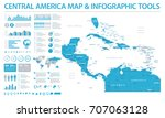 central america map   detailed... | Shutterstock .eps vector #707063128