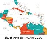 central america map   detailed... | Shutterstock .eps vector #707063230