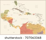 central america map   vintage... | Shutterstock .eps vector #707063368