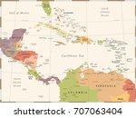 central america map   vintage...   Shutterstock .eps vector #707063404