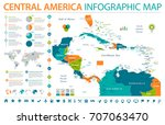 central america map   detailed... | Shutterstock .eps vector #707063470