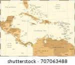 central america map   vintage...   Shutterstock .eps vector #707063488