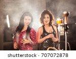 young women in beautiful... | Shutterstock . vector #707072878