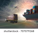 ship with container  train... | Shutterstock . vector #707079268