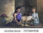 thai women in traditional... | Shutterstock . vector #707084908