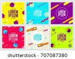 memphis style cards design... | Shutterstock .eps vector #707087380