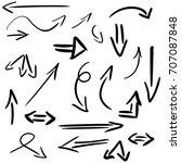 set of hand drawn arrows... | Shutterstock .eps vector #707087848