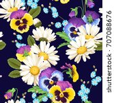seamless pansies and camomiles | Shutterstock .eps vector #707088676
