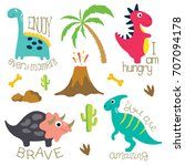 cute vector dinosaurs isolated... | Shutterstock .eps vector #707094178