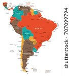south america map   detailed... | Shutterstock .eps vector #707099794