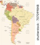 south america map   vintage... | Shutterstock .eps vector #707099848