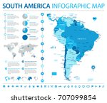 south america map   detailed... | Shutterstock .eps vector #707099854