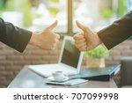 business people shaking hands ... | Shutterstock . vector #707099998