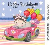 greeting card cute cartoon girl ... | Shutterstock .eps vector #707106700