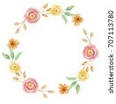 watercolor flower wreath floral ... | Shutterstock . vector #707113780