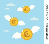 coins euro with wings flying in ... | Shutterstock .eps vector #707114530