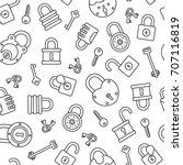 locks seamless pattern. tiling... | Shutterstock .eps vector #707116819
