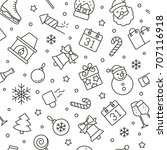 new year seamless pattern.... | Shutterstock .eps vector #707116918