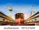 ship in floating dock waiting...   Shutterstock . vector #707117650