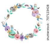 watercolour potion wreath... | Shutterstock . vector #707123428