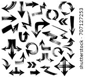 isolated hand drawn arrows set... | Shutterstock .eps vector #707127253