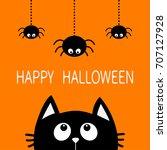 happy halloween. black cat face ... | Shutterstock . vector #707127928