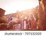 three best friend after... | Shutterstock . vector #707132320