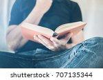 caucasian male person in black...   Shutterstock . vector #707135344