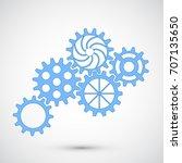 blue gears on grey background....   Shutterstock .eps vector #707135650