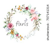 hand painted card  watercolor... | Shutterstock . vector #707141314