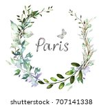 vintage card  watercolor... | Shutterstock . vector #707141338