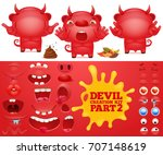 cartoon emoticon red devil... | Shutterstock .eps vector #707148619