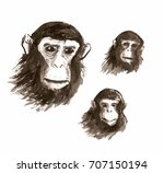 illustration of the heads of... | Shutterstock . vector #707150194