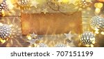 christmas background with... | Shutterstock . vector #707151199