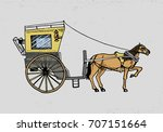 horse drawn carriage or coach....   Shutterstock .eps vector #707151664