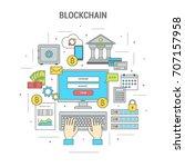 square blockchain concept... | Shutterstock .eps vector #707157958