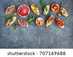 traditional spanish tapas on...   Shutterstock . vector #707169688