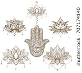 Lotus Flower And Hamsa Set ....