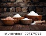sea salt in bowl. crystals of... | Shutterstock . vector #707174713
