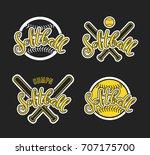 emblem of softball. graphic... | Shutterstock .eps vector #707175700