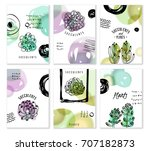 set of cards with succulents... | Shutterstock .eps vector #707182873