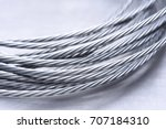 Steel Wire Rope Closeup On Gre...