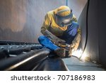 male  worker wearing protective ... | Shutterstock . vector #707186983
