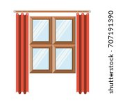 window in wooden with orange... | Shutterstock .eps vector #707191390