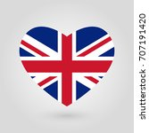 uk flag in the heart shape.... | Shutterstock . vector #707191420