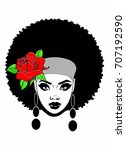beautiful african american with ... | Shutterstock . vector #707192590