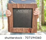 restaurant menu on wooden board ... | Shutterstock . vector #707194360